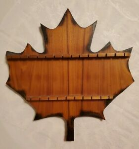 details about vintage wooden souvenir spoon wall rack display holder canada maple leaf condy