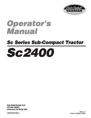 Cub Cadet Yanmar Sc Series Operator's Manual Model Sc2400