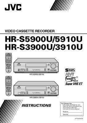 JVC HR-S3900U HR-S-3910U HR-S5900U HR-S5910U VCR Owners