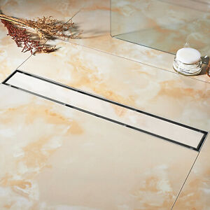 details about 24 inch linear shower drain tile insert with hair strainer and leveling feet new