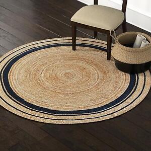 https www ebay fr itm jute rugs round reversible vintage area floor mats living room rag rug dhurrie 362685195775