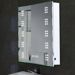 LED Heated Bathroom Mirror Cabinet SocketClockDemister