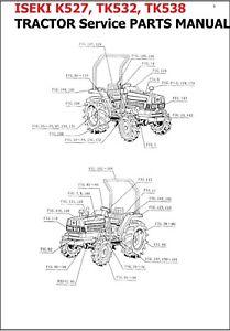 ISEKI K527, TK532, & TK538 TRACTOR SERVICE PARTS MANUAL