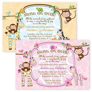 Details About Jungle Baby Shower Invitations Boy Twin Giraffe Custom Monkey Invitation