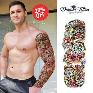 Full Sleeve Arm Temporary Tattoo Realistic Compass Rose Dragon