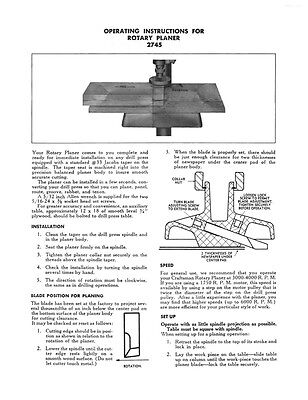 1950 Craftsman 9-2745 Rotary Planer Attachment
