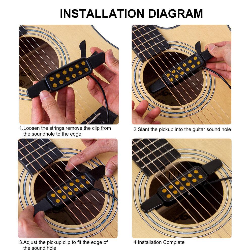 hight resolution of kq 3 clip on acoustic guitar pickup amplifier speaker sound 12 hole black n8f ag for sale online ebay