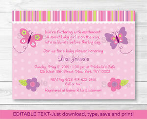 Details About Baby Pink Erfly Printable Shower Invitation Editable Pdf