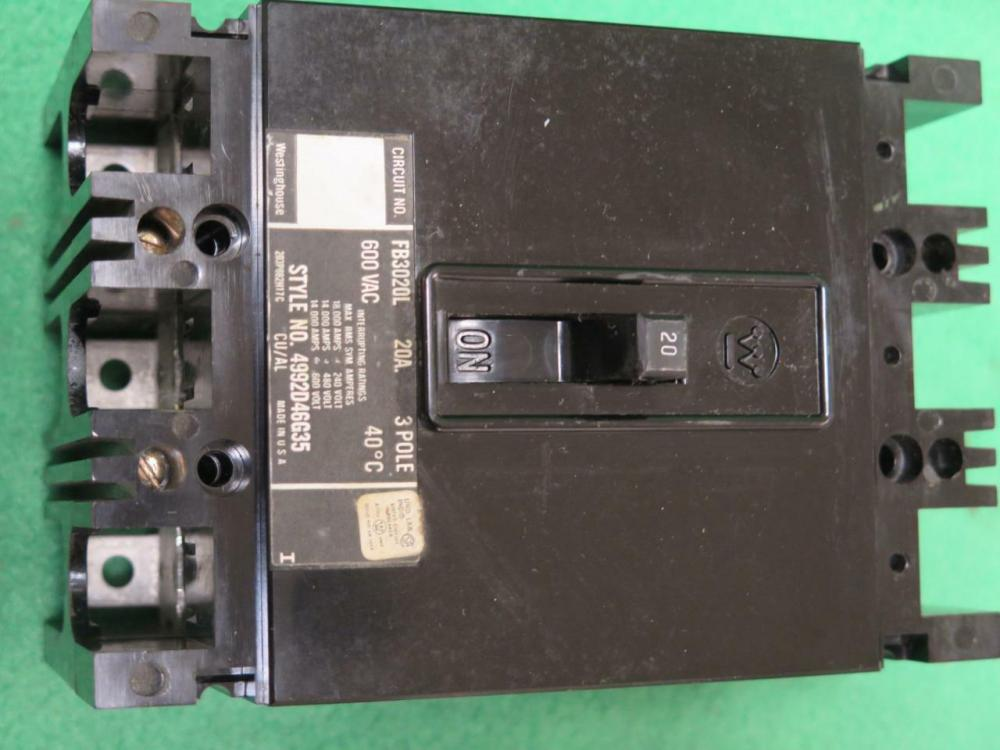 medium resolution of westinghouse fb3020l 20 amp 600vac 3 circuit breaker eaton pole cutler hammer npiffx6013 plc processors