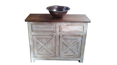 Farmhouse Rustic Reclaimed Wood White Barn Doors Bathroom Vanity Ebay