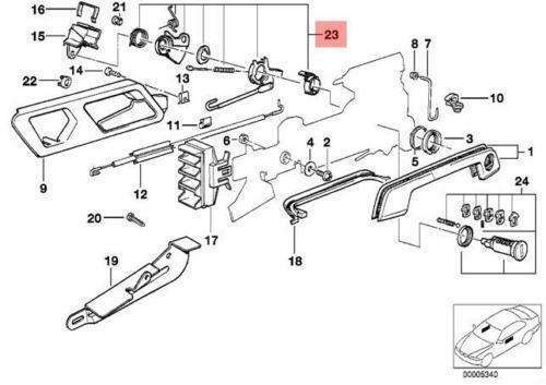 GENUINE OEM BMW E32 E34 Sedan Door Lock Cylinder Right