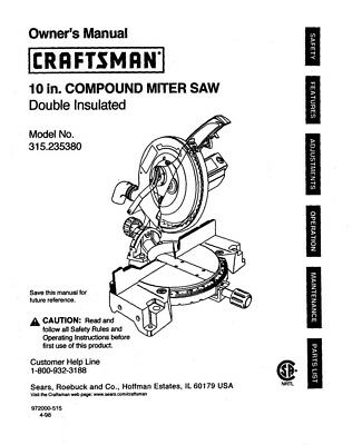 Craftsman 315.235380 Miter Saw Owners Instruction Manual