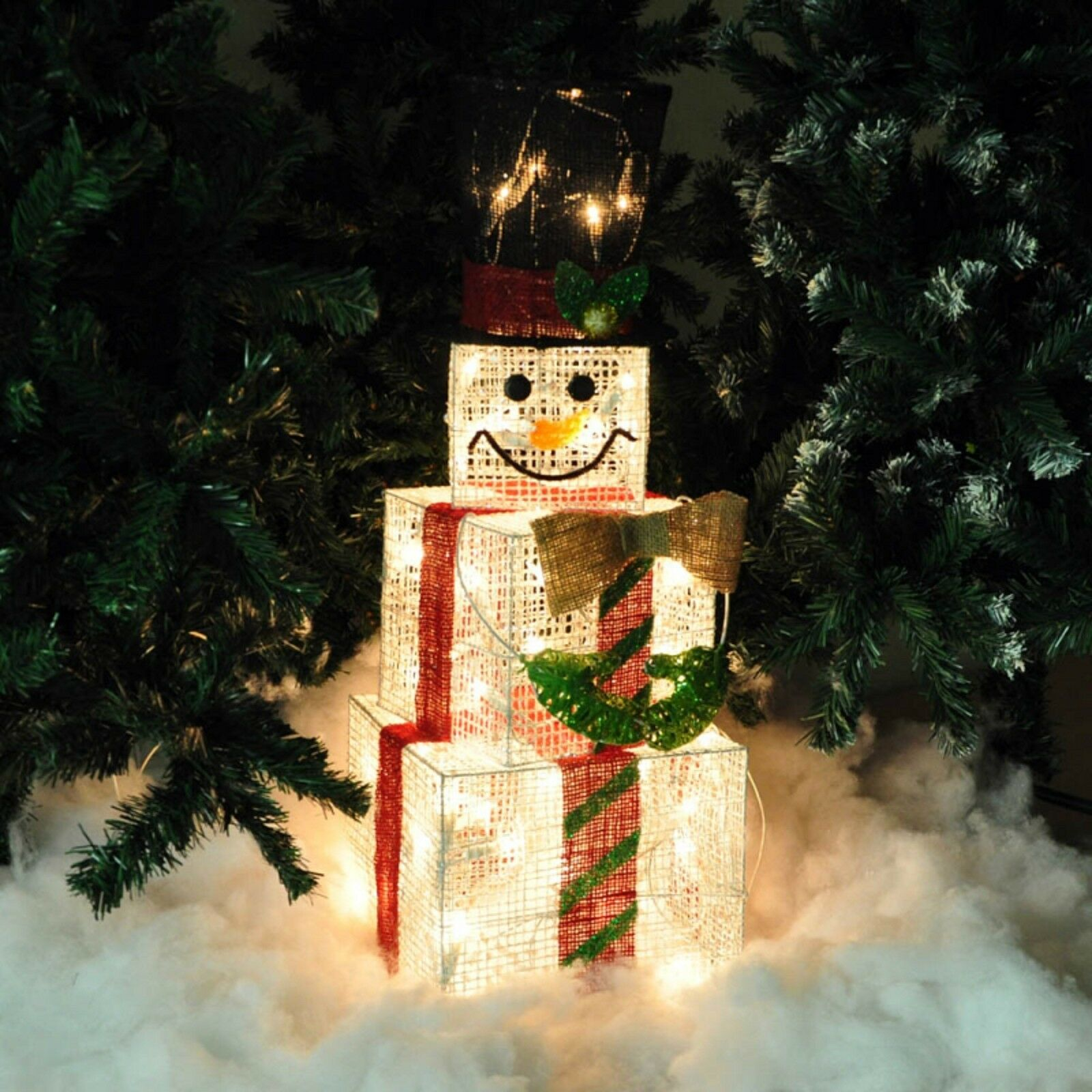 hight resolution of  snowman wire white wire glitter mesh lights up box cubes christmas on led dimmer schematic tree