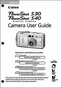 Canon Powershot S30 and S40 Digital Camera User Guide