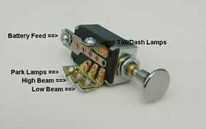 American Autowire Diagrams Headlight Dimmer Switch 4 Position With Chrome Knob Hot