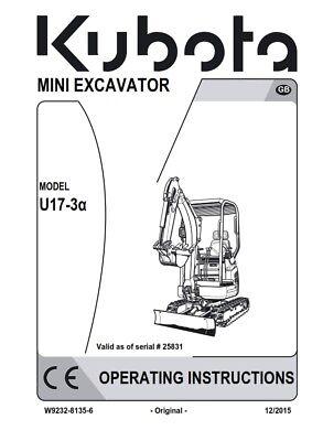 KUBOTA MINI EXCAVATOR U17-3a OPERATOR MANUAL REPRINTED DEC