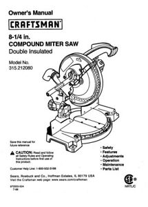 Craftsman 315.212080 Miter Saw Owners Instruction Manual