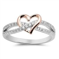 Sterling Silver 925 INFINITY HEART LOVE ROSEGOLD CLEAR CZ