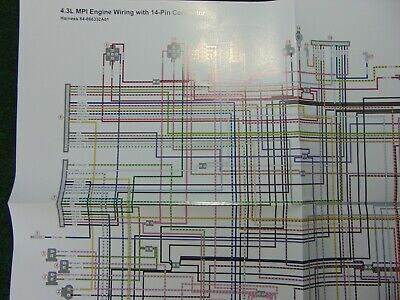 mercruiser 43l mpi engine wiring w 14 pin connector wiring harness diagram   ebay