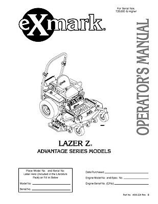 eXmark Lazer Z AS Operators Manual & Part List Diagrams
