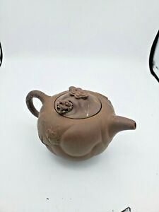 Chinese Clay Dragon Head Teapot Yixing Lid Signed Head Moves Vintage 3.5'' T