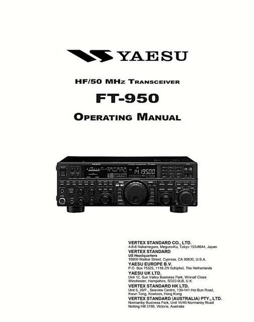 Yaesu FT-950 Communication Transceiver 132 Page OPERATING
