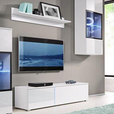 white gloss tv media unit with led light 150cm wide unit plus 120cm shelf ebay
