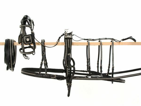 Tough 1 Show Spotted Leather Pony Horse Driving Harness