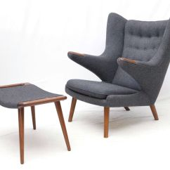 Hans Wegner Lounge Chair Replica Linen Tufted Tub Papa Bear And Ottoman In Grey