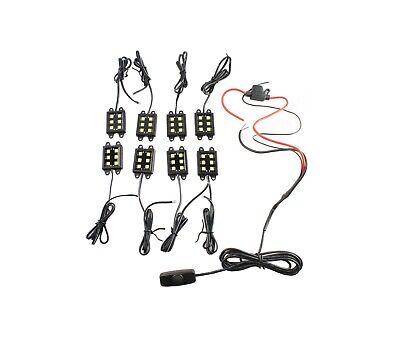 8 Pod Under Body Car LED Rock Light Kit UnderLight White