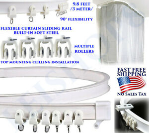 details about flexible curtain track bendable curve straight window balcony slide rail ceiling