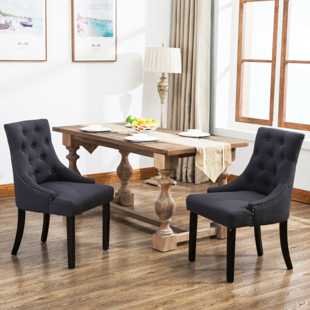 accent dining chairs chair covers for room set of 2 curved shape tufted fabric upholstered in dark grey ebay