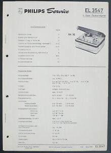 Philips El 3547 Original Tape Recorder Service Manual