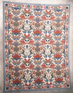 details sur tapis ancien rug europeen european portugais arraiolos 1950
