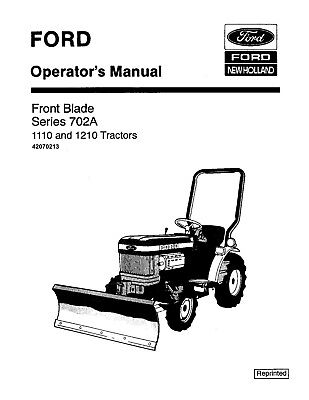 NEW HOLLAND Ford Series 702A Front Blade for 1110 1210
