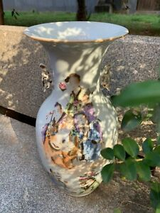 Large Antique Chinese Famille Rose Hand-painted Figures Porcelain Vase 13.9 ″