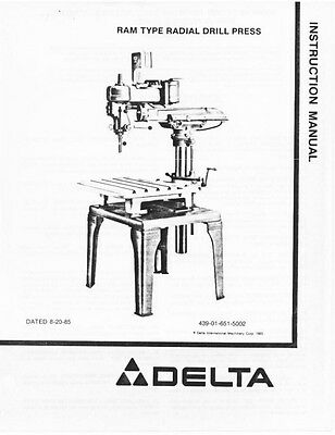 Delta 15-126 Ram Type Radial Drill Press Instruction