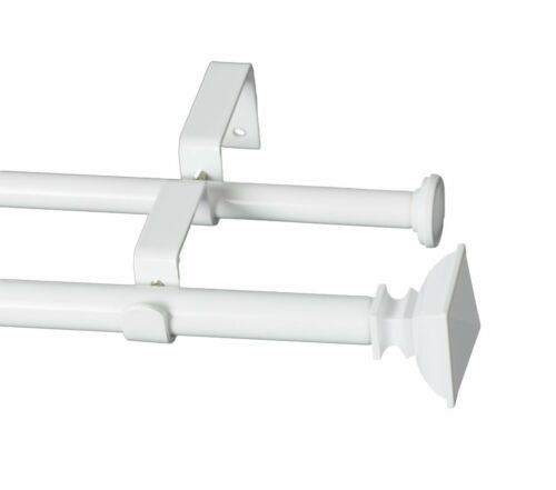 5 8 glossy white urbanest square urn adjustable double drapery curtain rod set curtain rods finials home garden