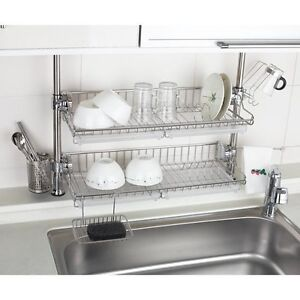 kitchen sink rack ideas for small stainless 2 layers premium one touch multi shelf series details about