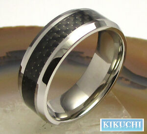 Wolfram Herren Ring Tungsten schwarz Karbon Mnner Fingerring Herr  eBay