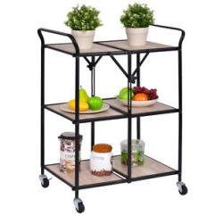 Folding Kitchen Cart Furniture Pantry Details About 3 Tier Trolley Rolling Serving Dining Storage Shelves New Image Is Loading