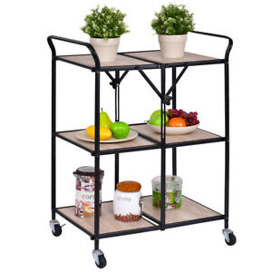 folding kitchen cart how much does it cost to replace cabinet doors details about 3 tier trolley rolling serving dining storage shelves new image is loading