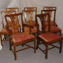 Vintage Wooden Dining Chairs Quality Bean Bag Set Of 8 Matching Antique Oak Padded Seats Ready Image Is Loading