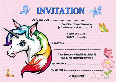 5 12 ou 14 ou 20 cartes invitation anniversaire licorne ref 462