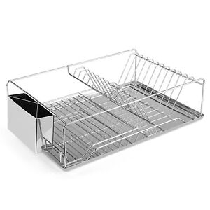 kitchen drying rack bulletin board dish stainless steel storage w chopstick holder image is loading