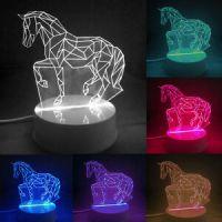 3D LED Desk Table Lamp Animal Night Light Horse Bedside ...