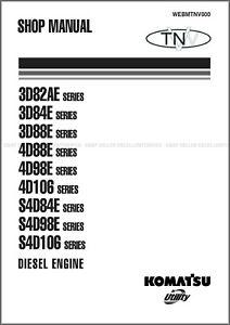 Komatsu 3D, 4D, S4D Series Diesel Engines Printed Shop