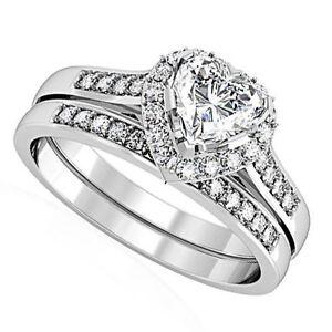 Heart Shape CZ Wedding & Engagement Silver Rhodium EP