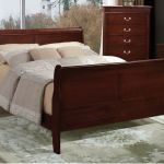 Contemporary Style King Size Bed Cherry Headboard Footboard Bedroom Furniture For Sale Online