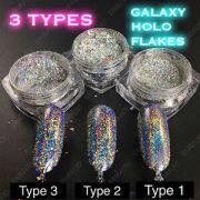 3 types galaxy holo flakes chrome